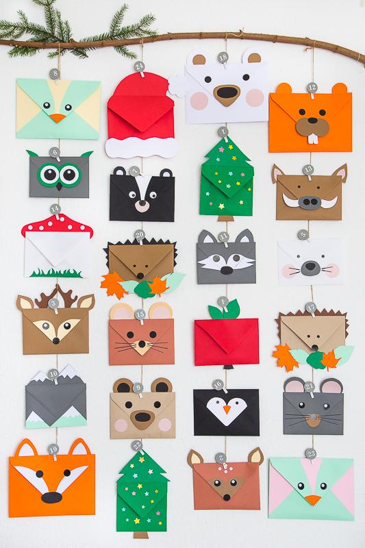 Tierischer Adventskalender aus Briefumschlägen