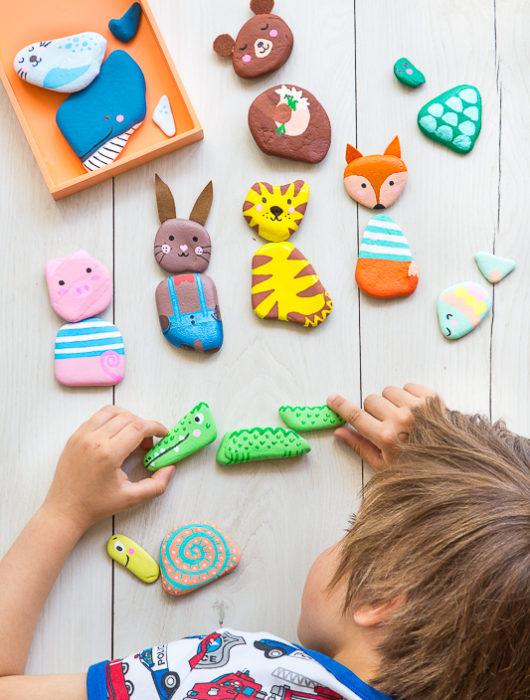 Steine bemalen - süße Spielidee für Kinder