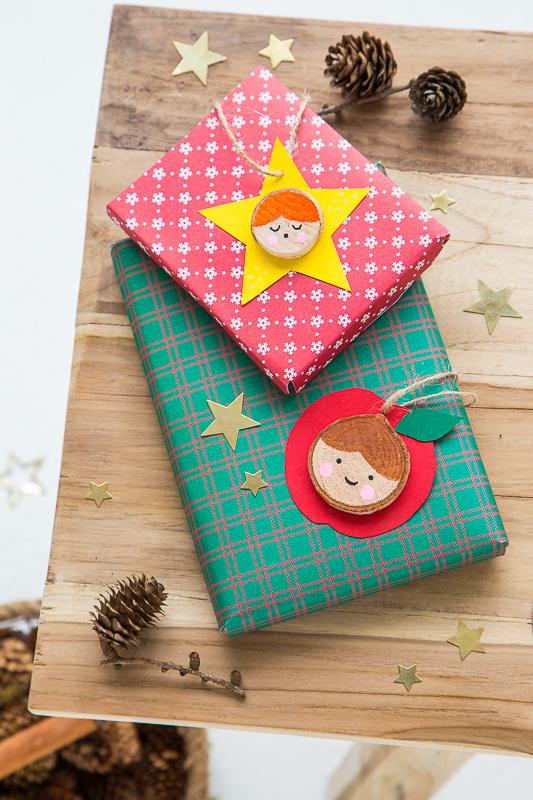 DIY Weihnachtsanhänger - Basteln mit Baumscheiben